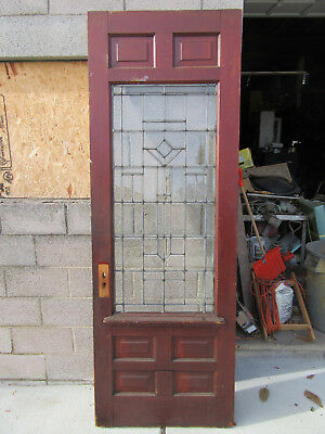 ~ ANTIQUE FULL BEVELED GLASS DOOR ZINC ~ 31.5 x 90.25 ~ ARCHITECTURAL SALVAGE ~