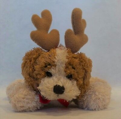Christmas Ornament Cavalier King Charles Spaniel With Antlers Plush Posable