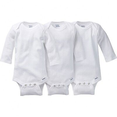 Gerber Unisex White Onesies 3 Pack NEW Long Sleeve Bodysuits Various Sizes