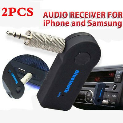 Car Wireless Bluetooth hands-free Audio Receiver 3.5mm AUX Adapter Music Stereo