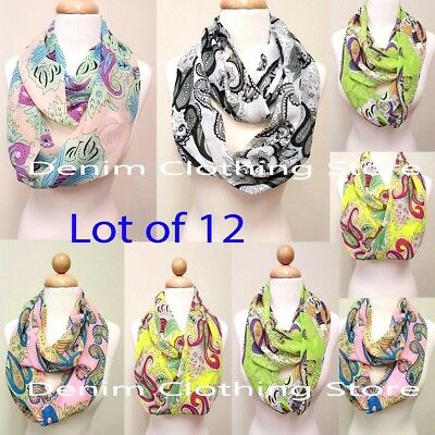 12pc Women Fashion Loop Scarf Light Weight Infinity Scarves Wholesale Xmas Gift