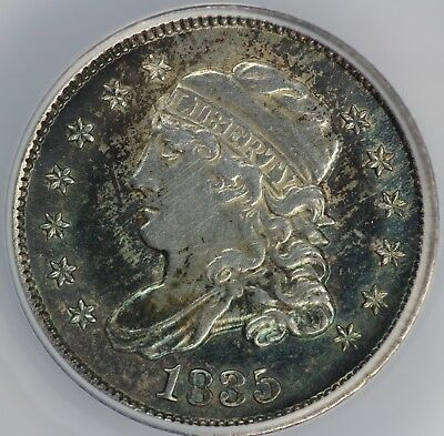 1835 H10c Capped Bust Half Dime ANACS AU 55 DETAILS CLEANED