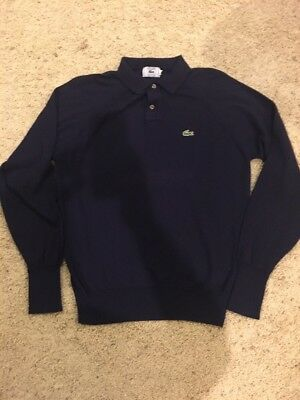 Vintage Men's Izod Lacoste Long Sleeve Polo Large Blue