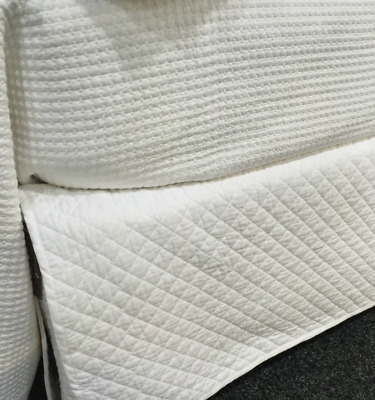 Queen Bed White Diamond Quilted Provincial Cotton Valance