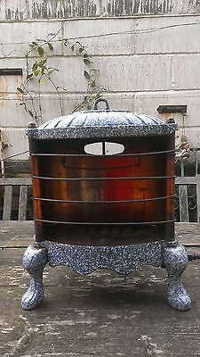 Antique Gas Burner Heater Parlor Stove Granite Ware Blue Speckle Enamel Copper