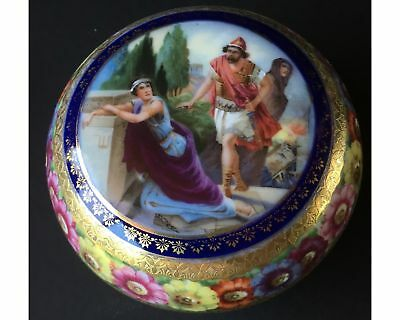 Antique Porcelain Royal Vienna Style Large Round Covered Box