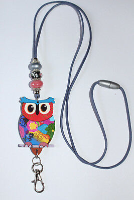 Paisley Owl with Murano Beaded Lanyard / ID Badge or Cruise Card Holder