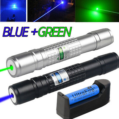 20Miles 1mw Range Green&Blue Laser Pointer Pen Visible Beam Light LazerCharger!!