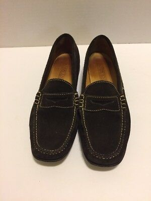 b4a2e62a903 Lands End Penny Loafer Womens 7M Brown Suede Slip On Mocassin Moc Low Heel  Shoe