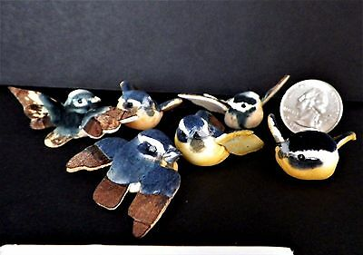 "6 Flocked Bluebirds Vintage Crafts Ornaments Package Trims 1"" L Hand Decorated"