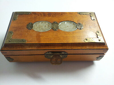 Vintage Chinese Jewelry Box Rosewood, Brass And Jade Inlay