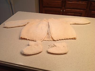 Early to Mid Century Vintage Handmade Sweater and Booty Set Child Very Nice