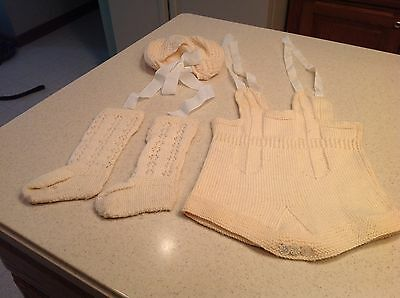 Early to Mid Century Vintage Handmade Baby Outfit Beige Knee High Socks Overalls