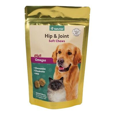 NaturVet Hip Joint Soft Chews Plus Omegas for Dogs and Cats, 120 ct Soft Chews,