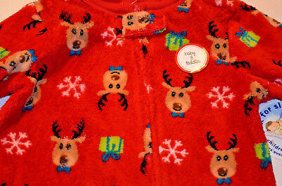 Macy's Family PJs Xmas Footed 1 pc Baby/Toddler Boy NWT Reindeer Red 18 & 24 mos