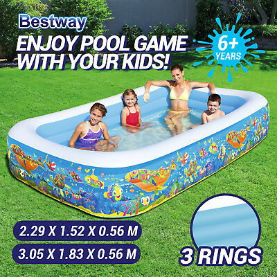 New Bestway Inflatable Large Rectangular Swimming Pool for Children Kids