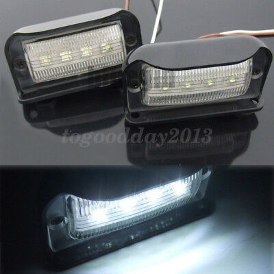 2x 4 LED License Number Plate Light Lamp Truck Van Lorry Trailer Caravan 12V 24V