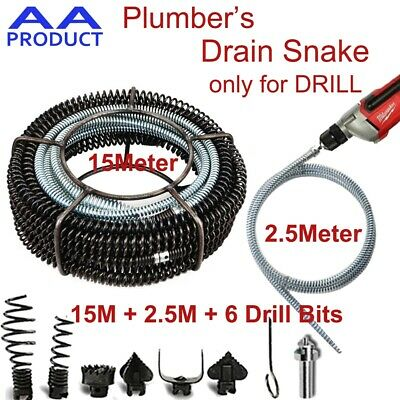 Plumber Drain Snake Pipe Pipeline Sewer Cleaner 15M+2.5M w 6 Drill Bit for Drill