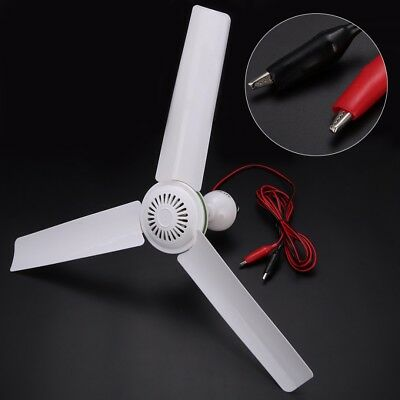 DC12V Plastic 3 Leaves Brushless Converter Motor Battery Mini Ceiling Fan White