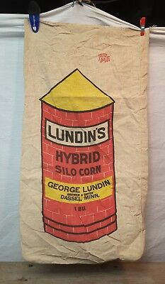 Vintage Cloth Seed Sack Fulton Canvas Corn Seed Bag LUNDIN'S Dassel MN