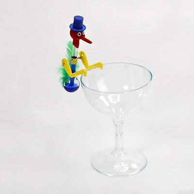 Drinking Water Bird Dippy Lucky Novelty Happy Duck Bobbing Toy Retro Glass & Cup
