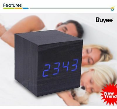 Digital LED Wood Cube Desk Alarm Clock Wooden Temperature Calendar Voice Control