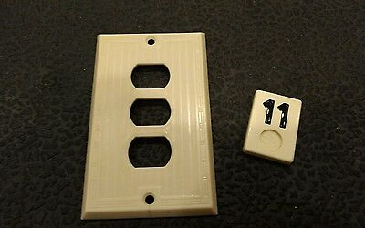 1 Ivory Vtg Bakelite Ribbed Deco Single Gang P&S Despard Plate Cover B11