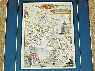 Reproduction Of An Antique Oxfordshire Map, Card Mounted