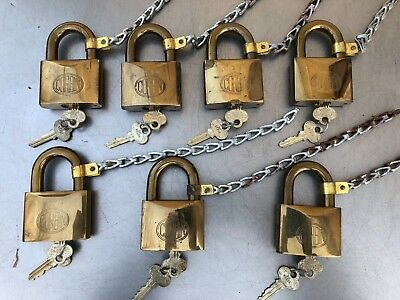 7 Matching Large Original Vintage Brass Corbin Padlock with Keys