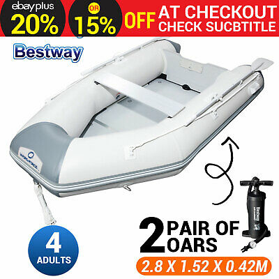 Bestway 2.8M Inflatable Boat Fishing Dinghy Yacht Tender Raft with Aluminum Oars