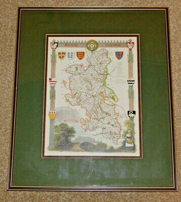 Antique Reproduction Map Of Buckinghamshire, Mounted & Framed