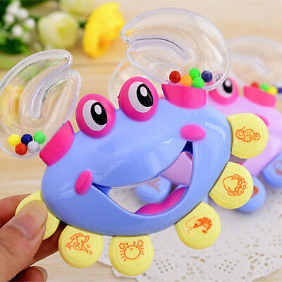 Funny Jingle Bell Plastic  Crab Handbell Shaking Rattle Baby Musical tool Toy@ST