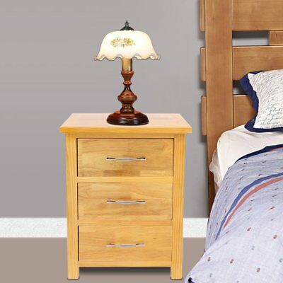 Bedside Table Desk Oak Nightstand 3 Drawers with Handles 40 x 30 x 54 cm