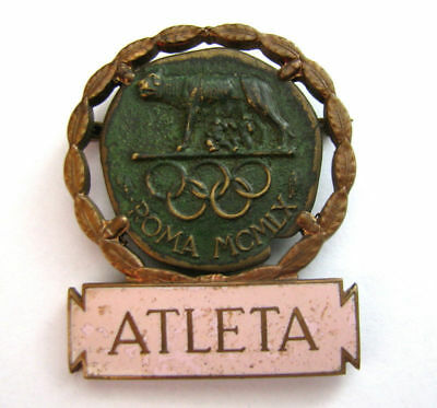 Rome Roma Italy Summer 1960 Olympic Participation Athlete Badge Olympiade