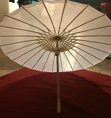 White Parasol Umbrella With Wooden Handle