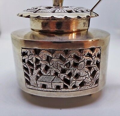Chinese Silver Condiment Pot With Spoon