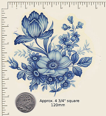 "1 x Ceramic decal Decoupage Blue floral Flowers 4 3/4"" sq. COMBINE POSTAGE PD92a"