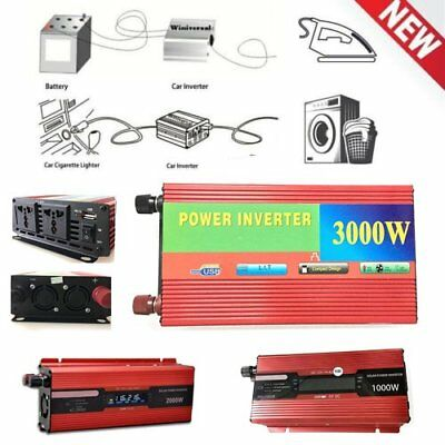 3000W Power Car LED Power Inverter DC 12V to AC 110V Dual Converter Charger LOT