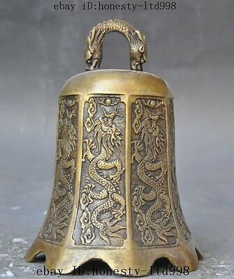 old chinese buddhism temple pure bronze copper 9 Dragon statue Bell Chung Zhong