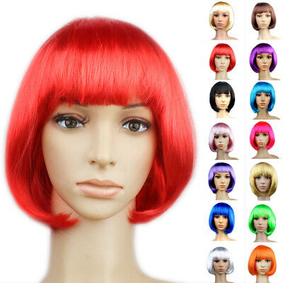 NEUF FEMME COMPLET Bangs Perruque courte lisse Bob cheveux Cosplay fête Couture
