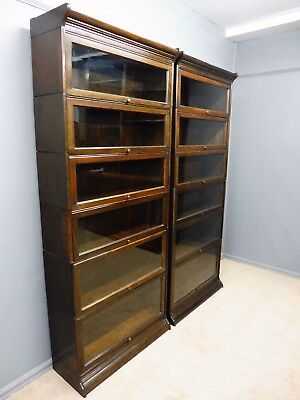 Excellent Pair Of Antique 6 High Oak Sectional  Lawyers Bookcases