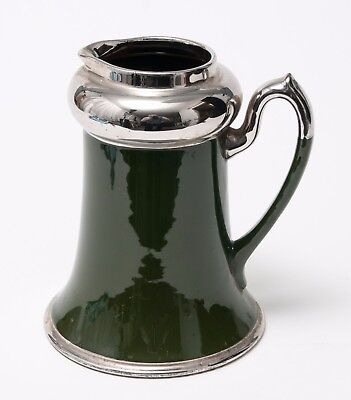 Antique Devon/Torquay Ware Jug In Dark Green & Silver over Redware Pottery