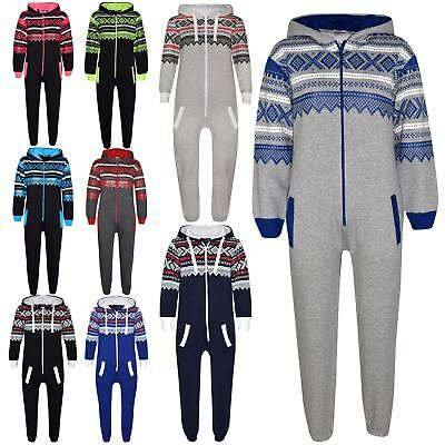 Kids Girls Boys Aztec Snowflake A2Z Onesie One Piece Jumpsuit Playsuit 5-13 Year