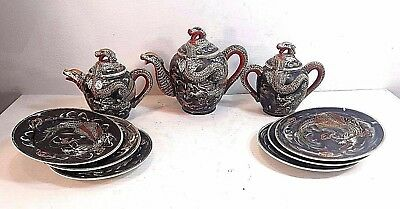 Antique Chinese Dragon Theme Tea Set With Matching Plates