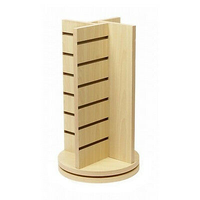 """Counter Top Slatwall Rotating 4 Way Spinner Maple Display Tower 20"""" H x 12"""" L"""