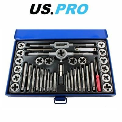 US PRO 40pc Metric Tap and Die Set Alloy Steel Pitch Gauge M3 - M12 2620