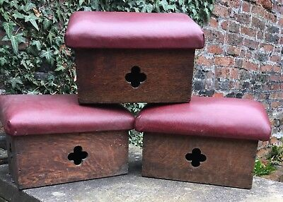 Antique Oak Praying Stool Hassock Church Kneeler Footstool Chapel Vintage