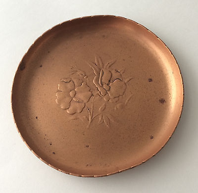 Vintage Antique Copper Pin Dish Trinket Tray Flower Floral