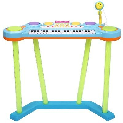 Kids Blue/Pink 37-Key Electronic Piano Keyboard with Microphone Best Toys Gift