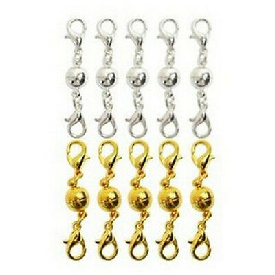 10Pcs Gold & Silver Ball Tone Magnetic Lobster Clasps for Jewelry Necklaces WKHW